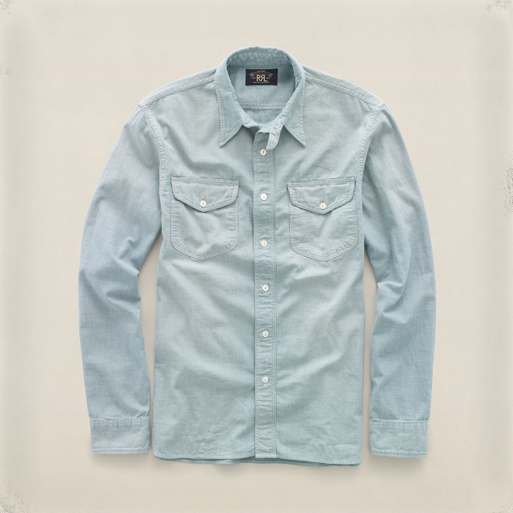 Rrl Cotton Chambray Workshirt In Blue For Men Lyst