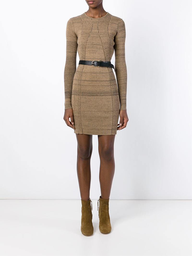 Sonia rykiel Ribbed Fitted Sweater Dress in Brown | Lyst