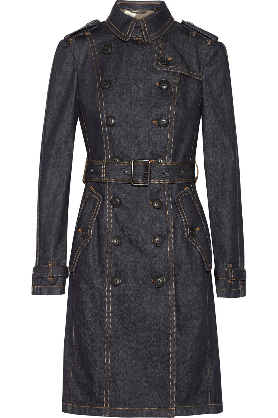 Burberry Brit Denim Trench Coat In Blue Lyst