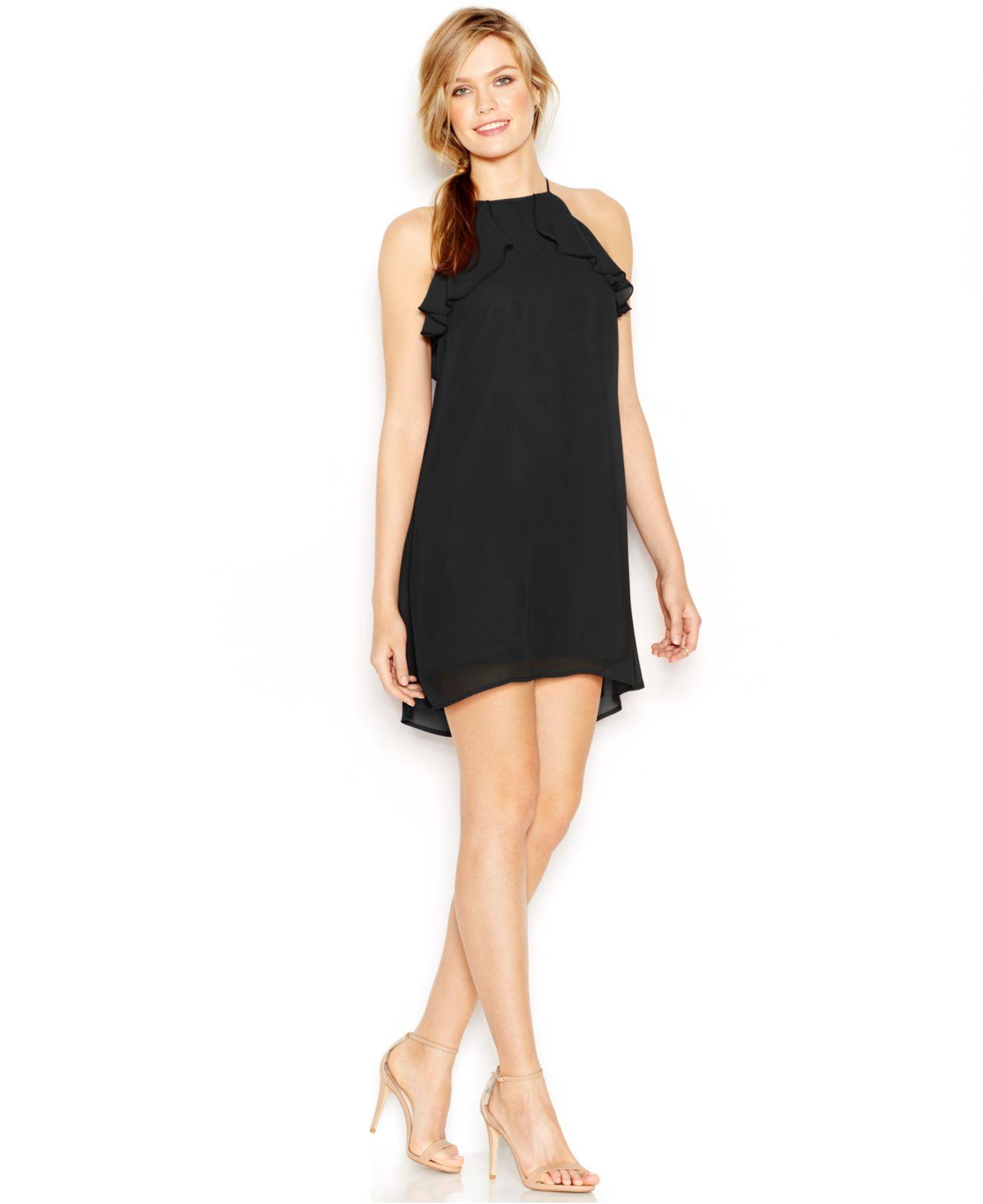 Black Shift Halter Dress