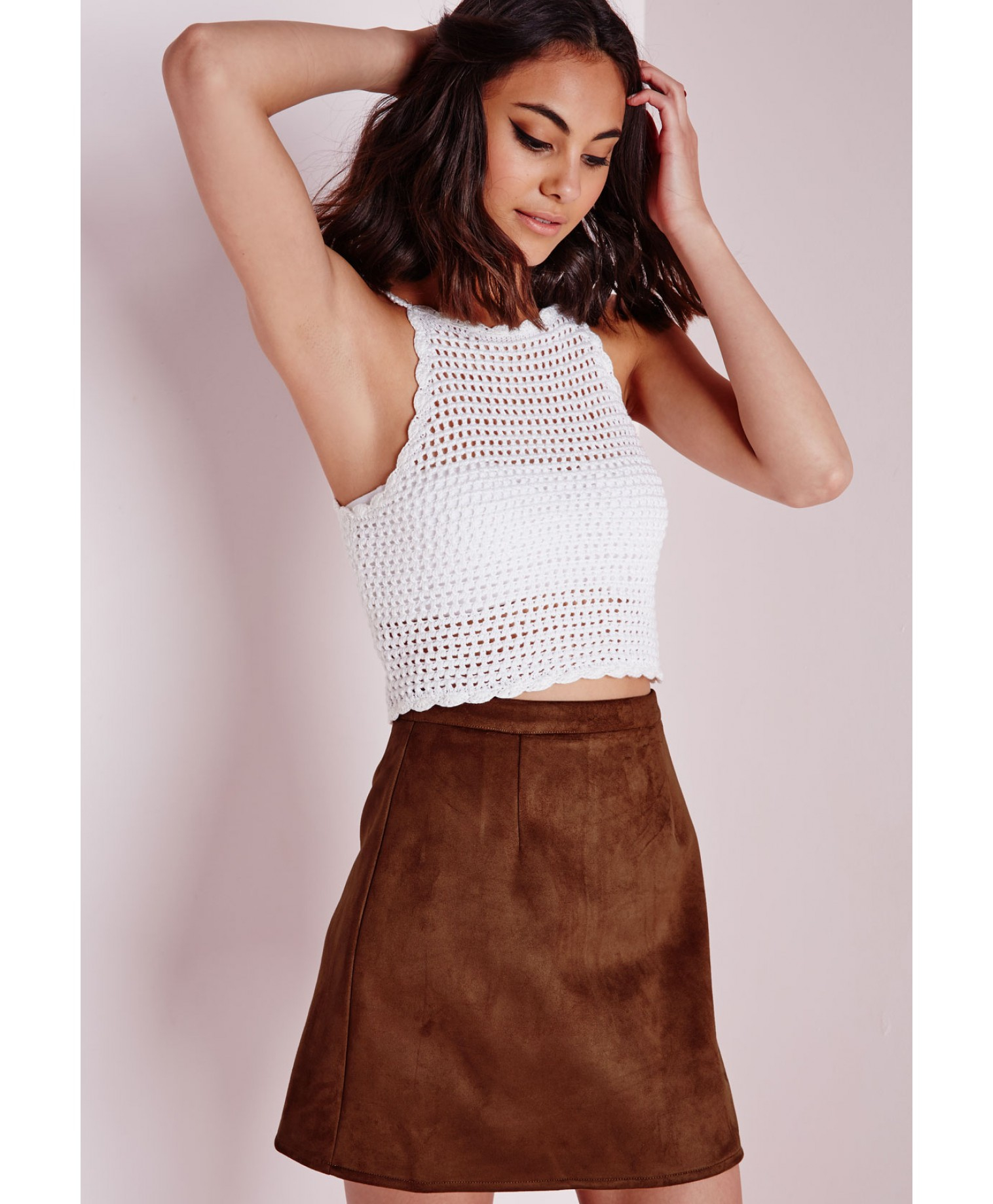 Missguided Faux Suede A Line Skirt Tan in Brown | Lyst