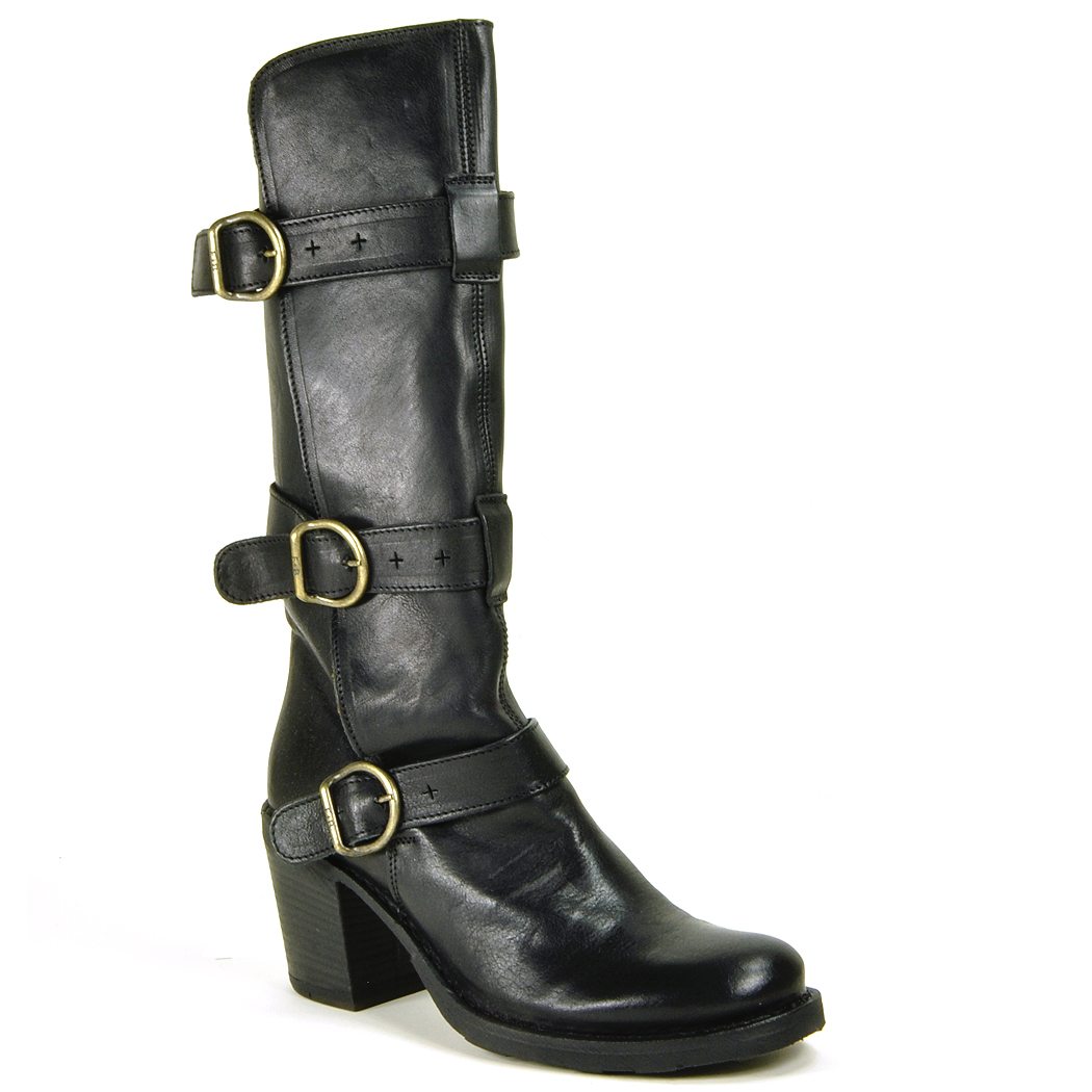fiorentini baker lety buckled leather knee high boots in black lyst. Black Bedroom Furniture Sets. Home Design Ideas