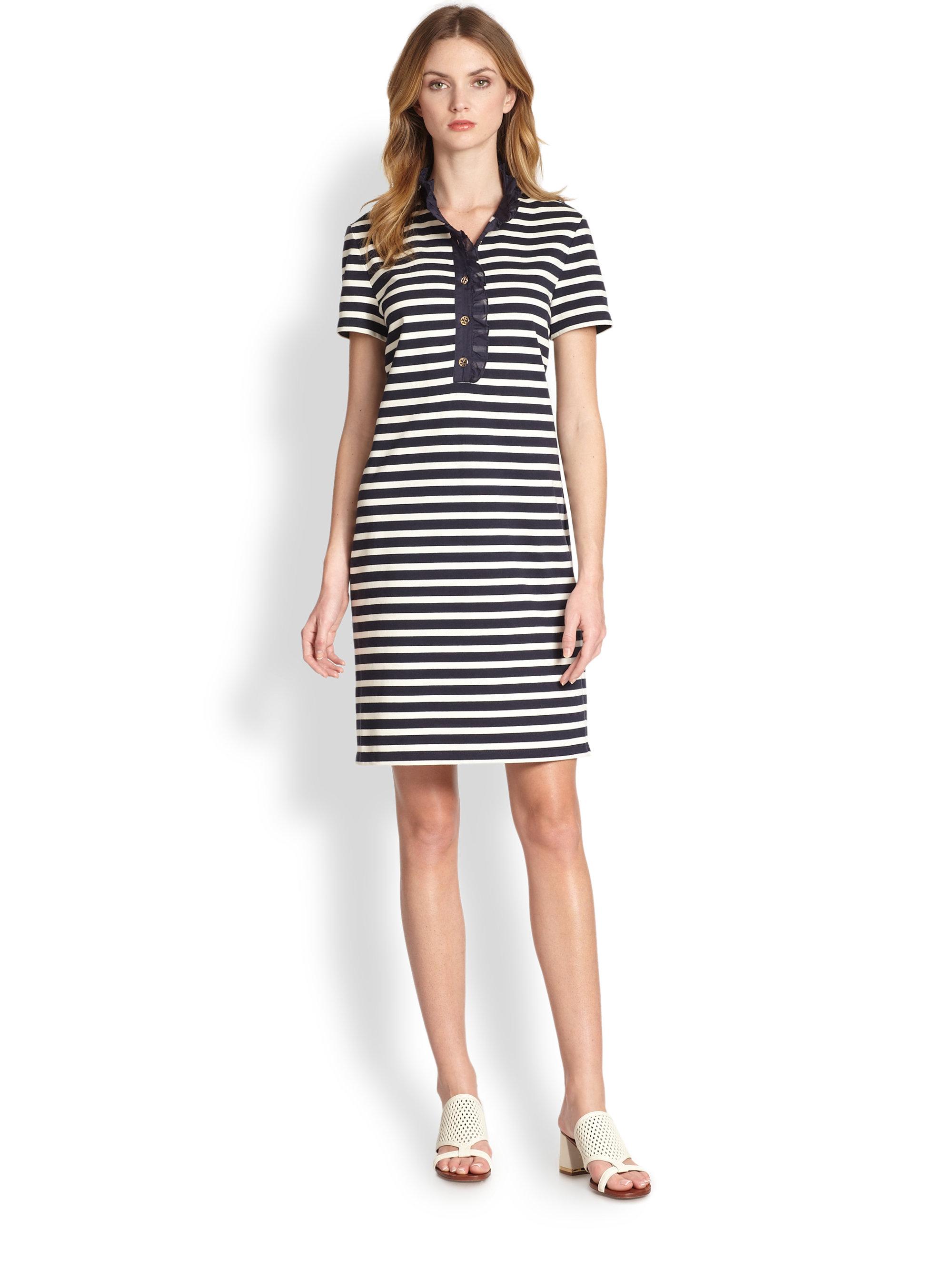 b50e98cb4831 Lyst - Tory Burch Lidia Striped Cotton Polo Dress in Blue