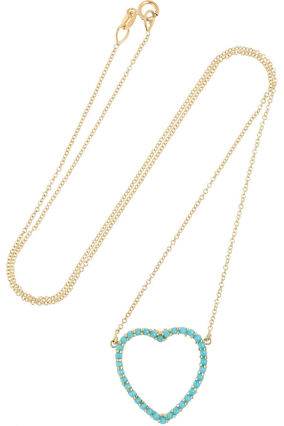 Jennifer Meyer Open Heart 18-karat Gold Turquoise Necklace ppqmpJQ1