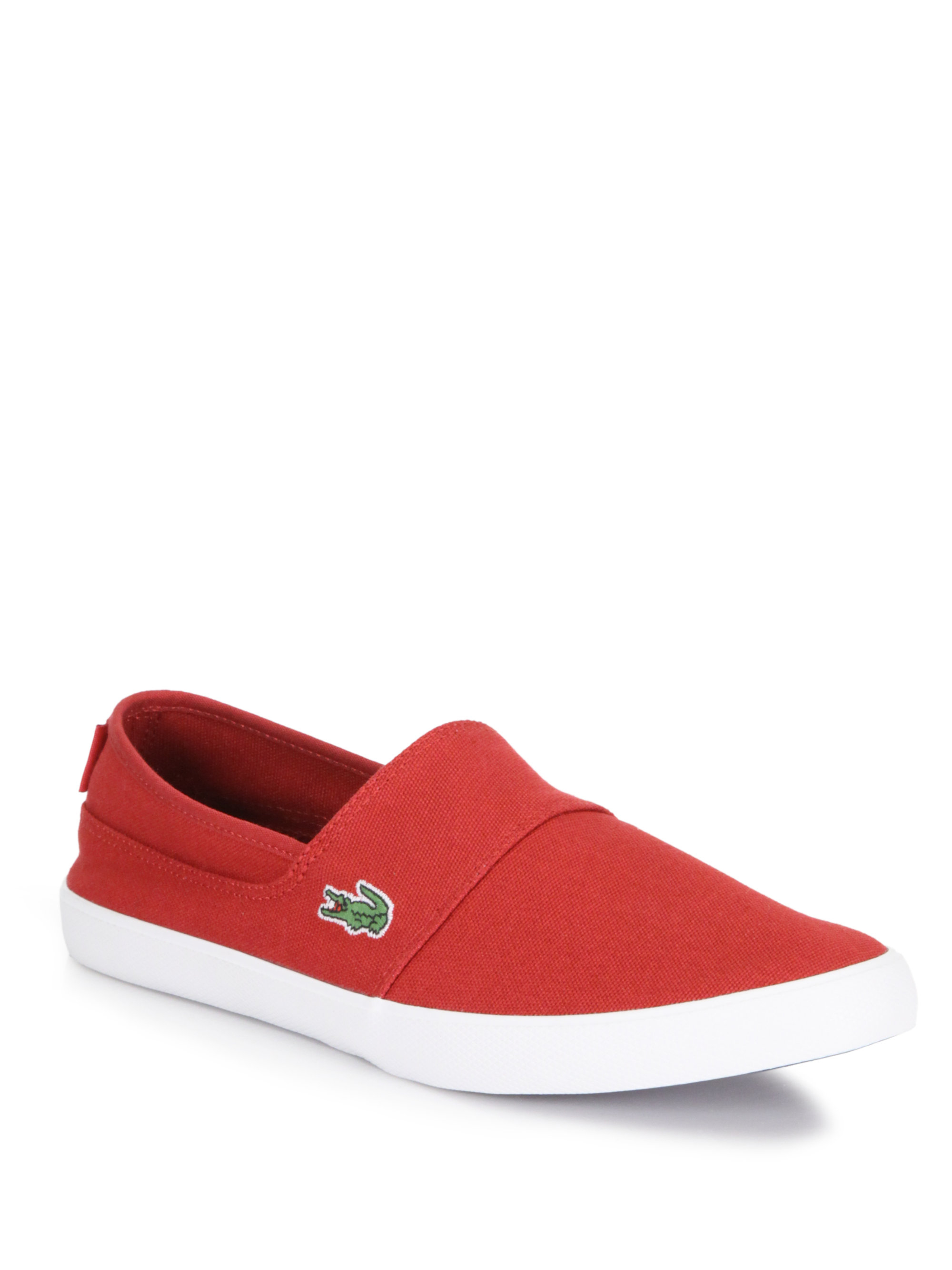 lacoste maurice slipon sneakers in red for men lyst