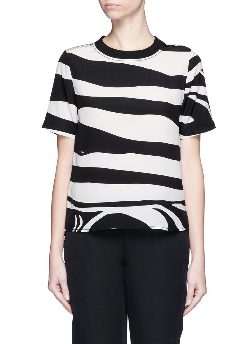 Lyst diane von furstenberg 39 dayle 39 zebra print silk t shirt for Diane von furstenberg shirt