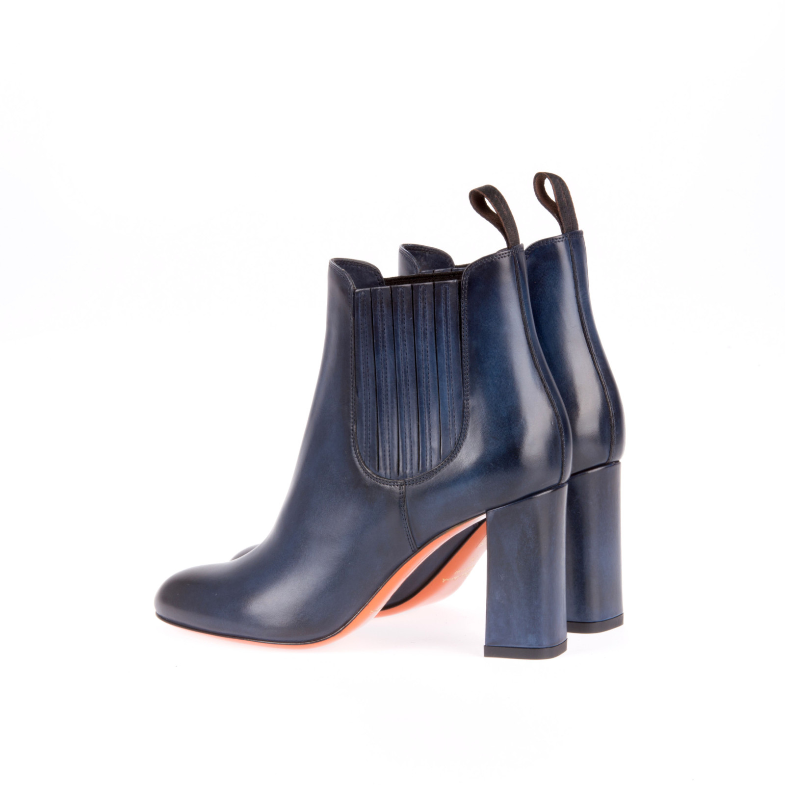 Blue Leather Ankle Boots - Boot Hto