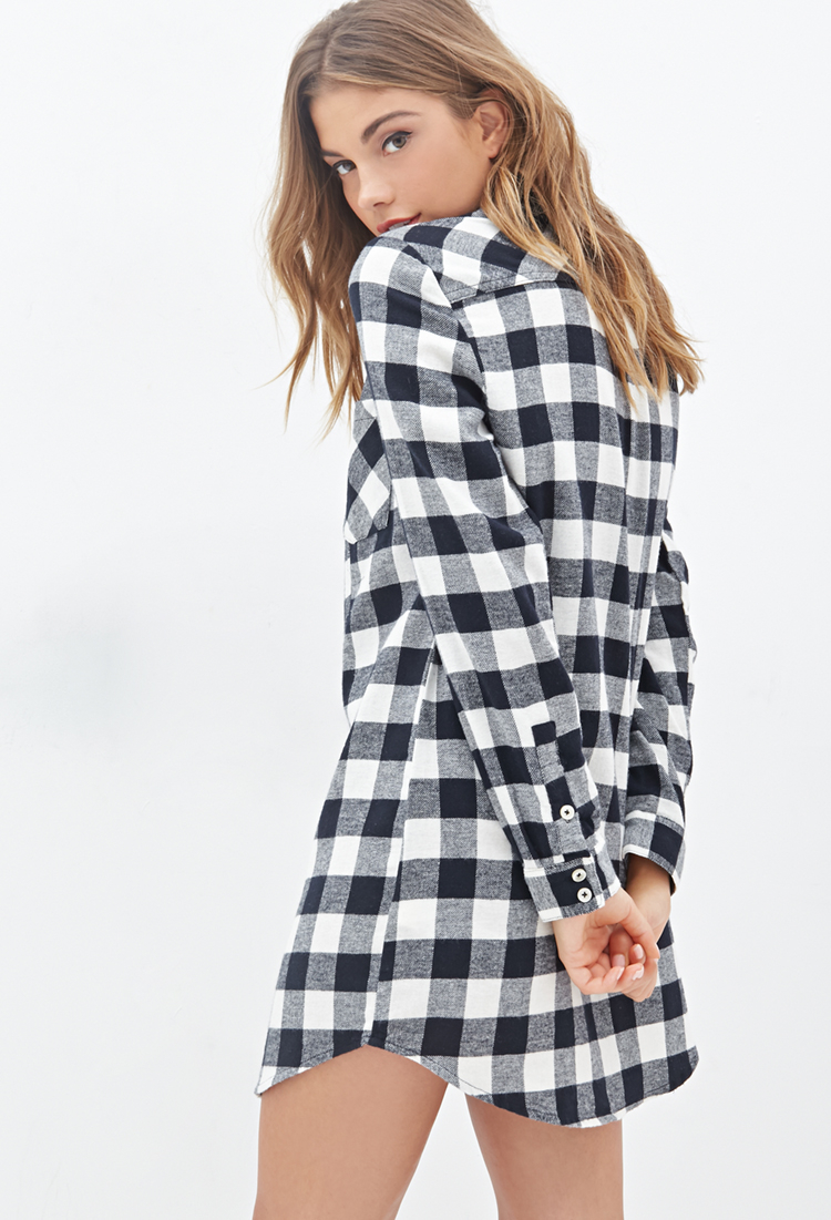 Lyst Forever 21 Plaid Flannel Shirt Dress In White