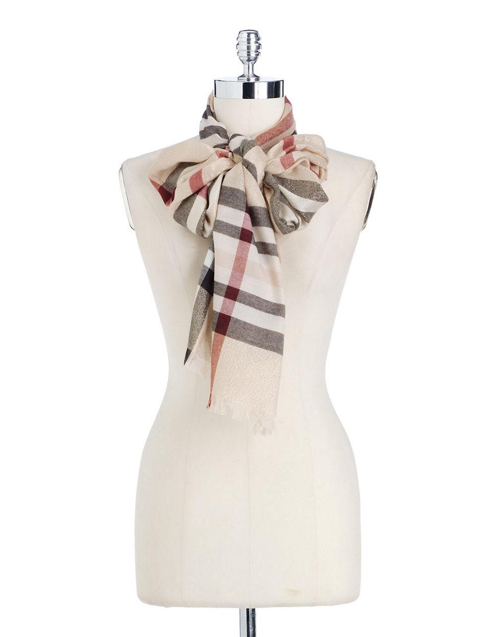 lord metallic plaid scarf in lyst
