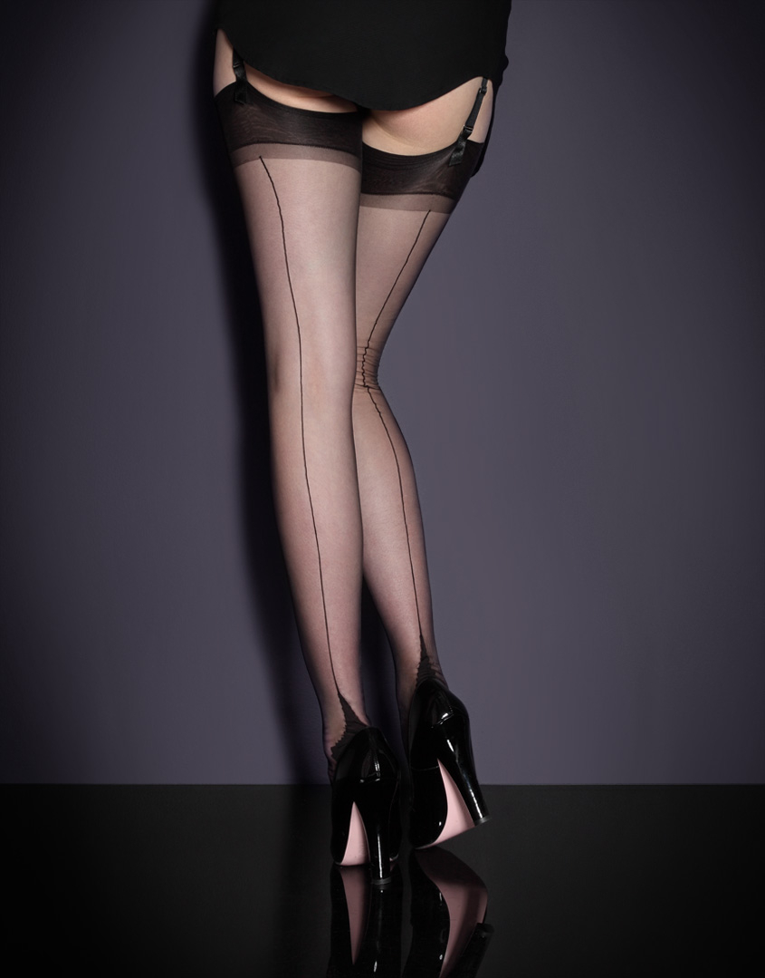 5ef2e2861 Agent Provocateur Seam   Heel Stockings in Black - Lyst