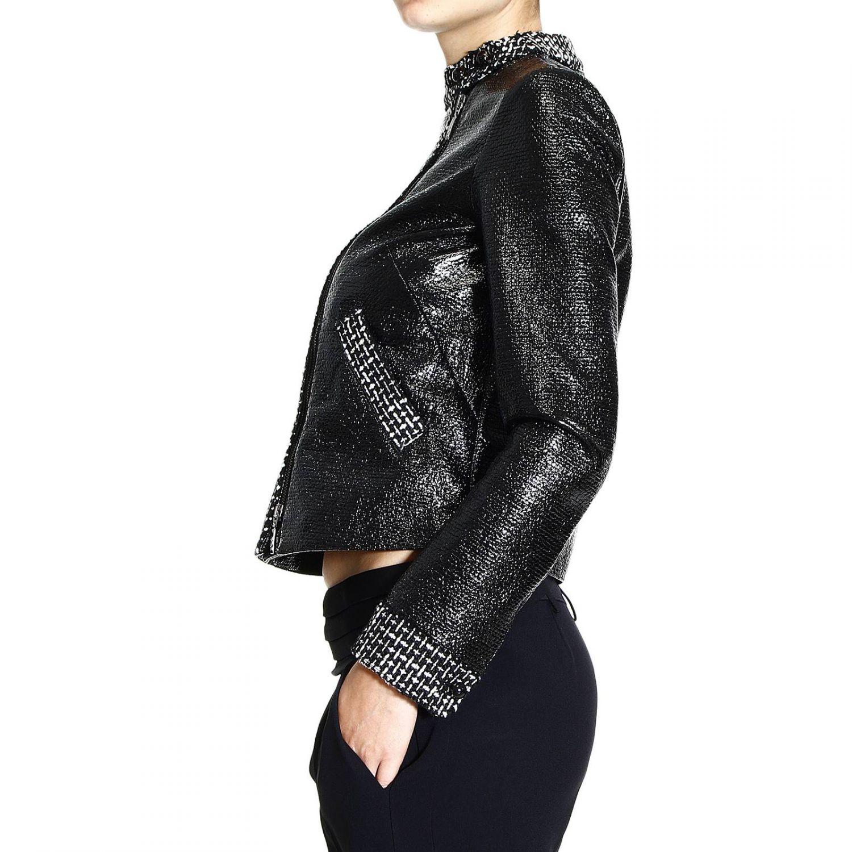 Giorgio Armani Jacket Zip Asymmetric Patent With Boucl