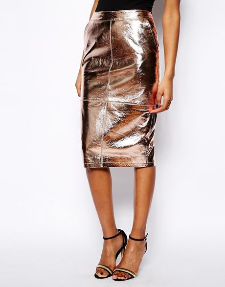 river island high waisted leather pencil skirt in gold