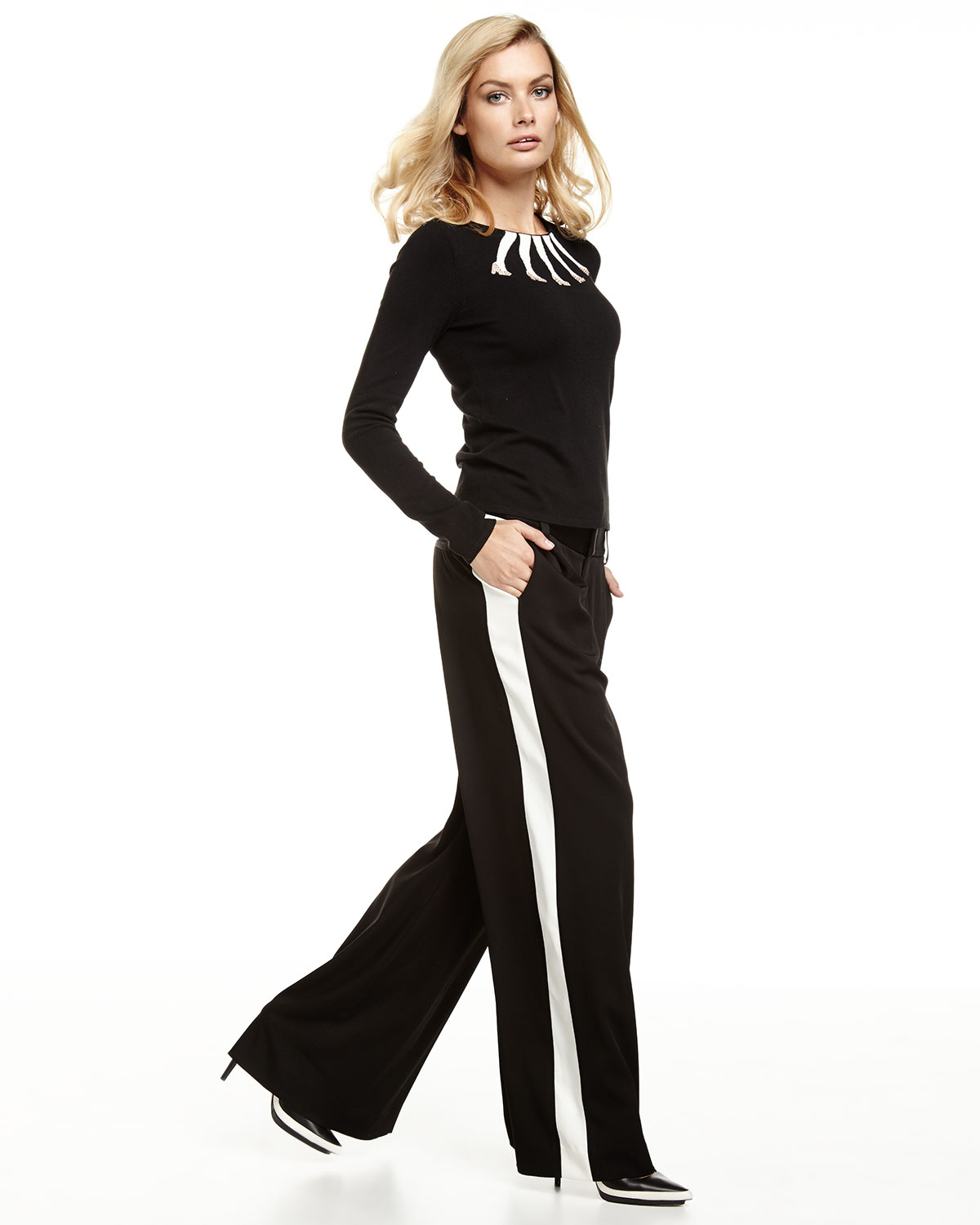 Alice   olivia Tuxedo-Stripe Wide-Leg Pants in Black | Lyst
