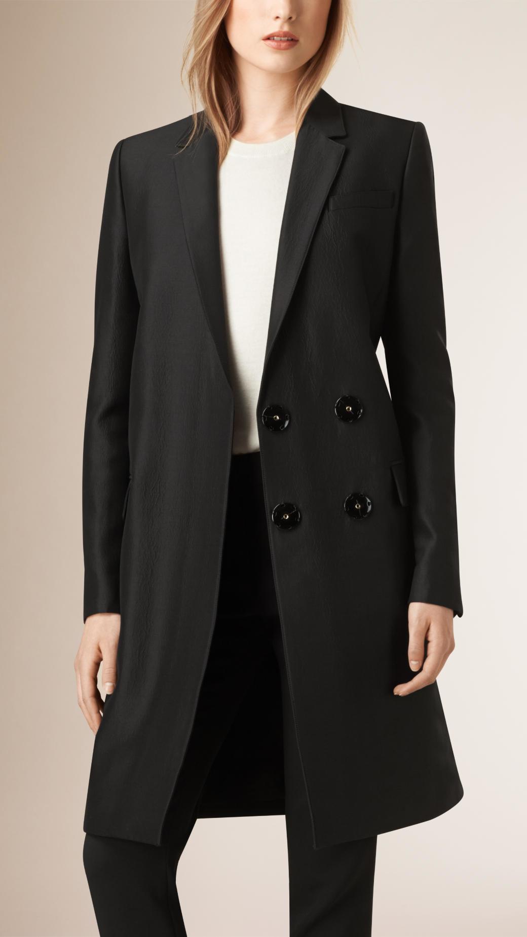 Burberry Oversized Wool-Silk Blazer Coat in Black | Lyst
