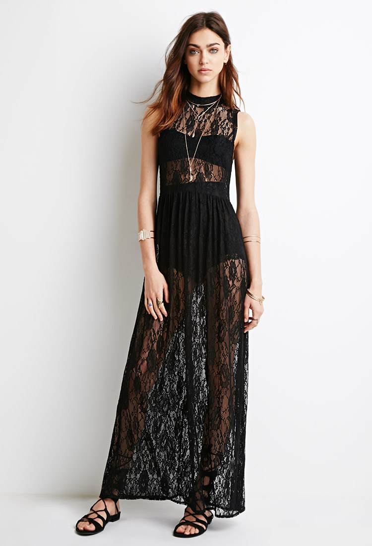 Forever 21 High-neck Lace Maxi Dress in Black | Lyst