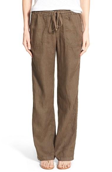 Caslon Caslon Drawstring Linen Pants In Green Lyst