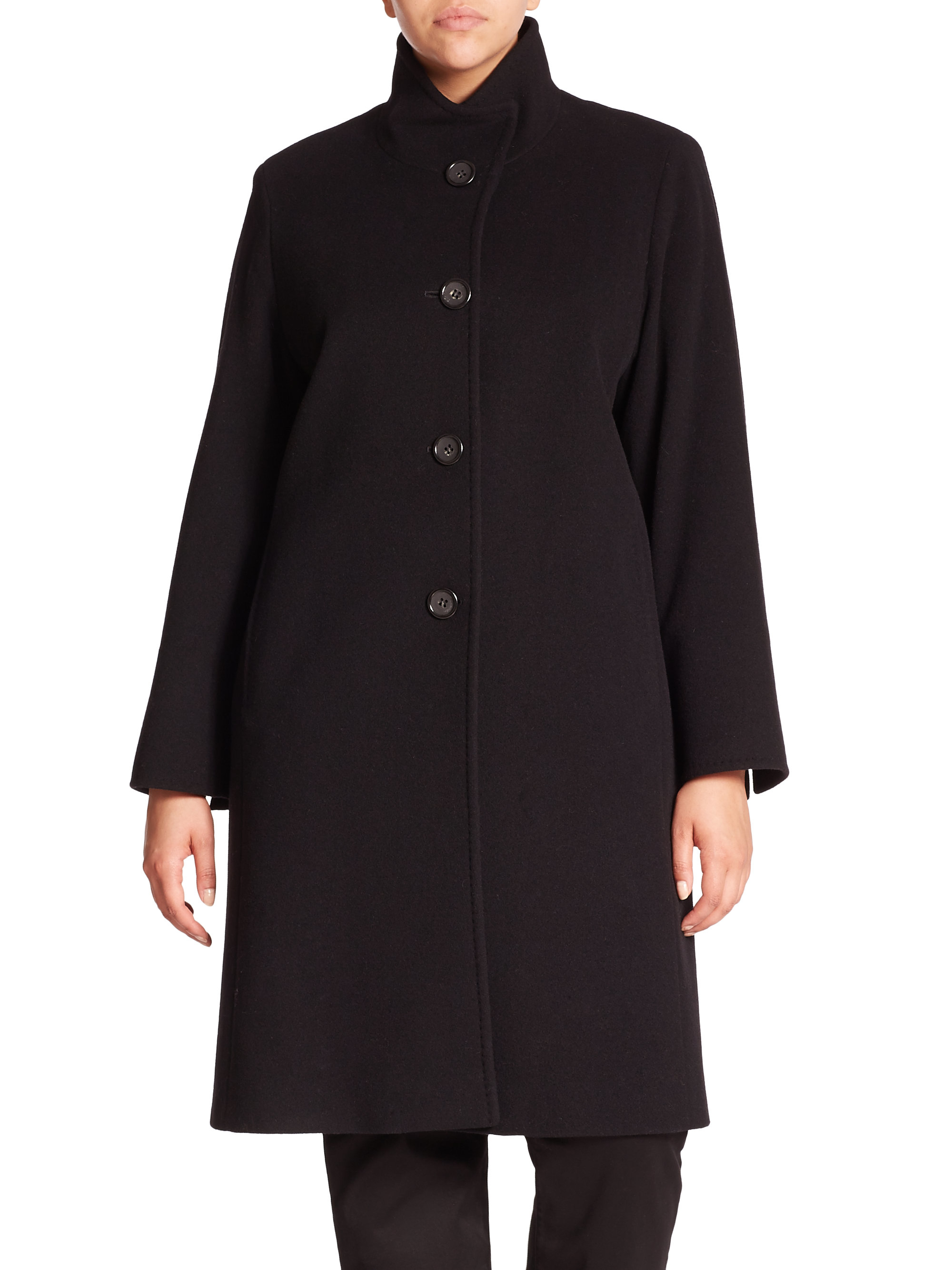 Lyst Cinzia Rocca Wool Blend Walking Coat In Black