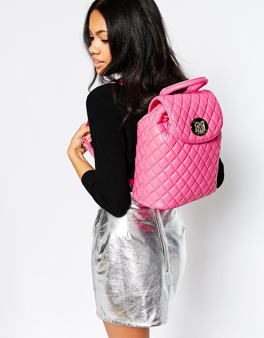 love moschino quilted backpack in pink lyst. Black Bedroom Furniture Sets. Home Design Ideas