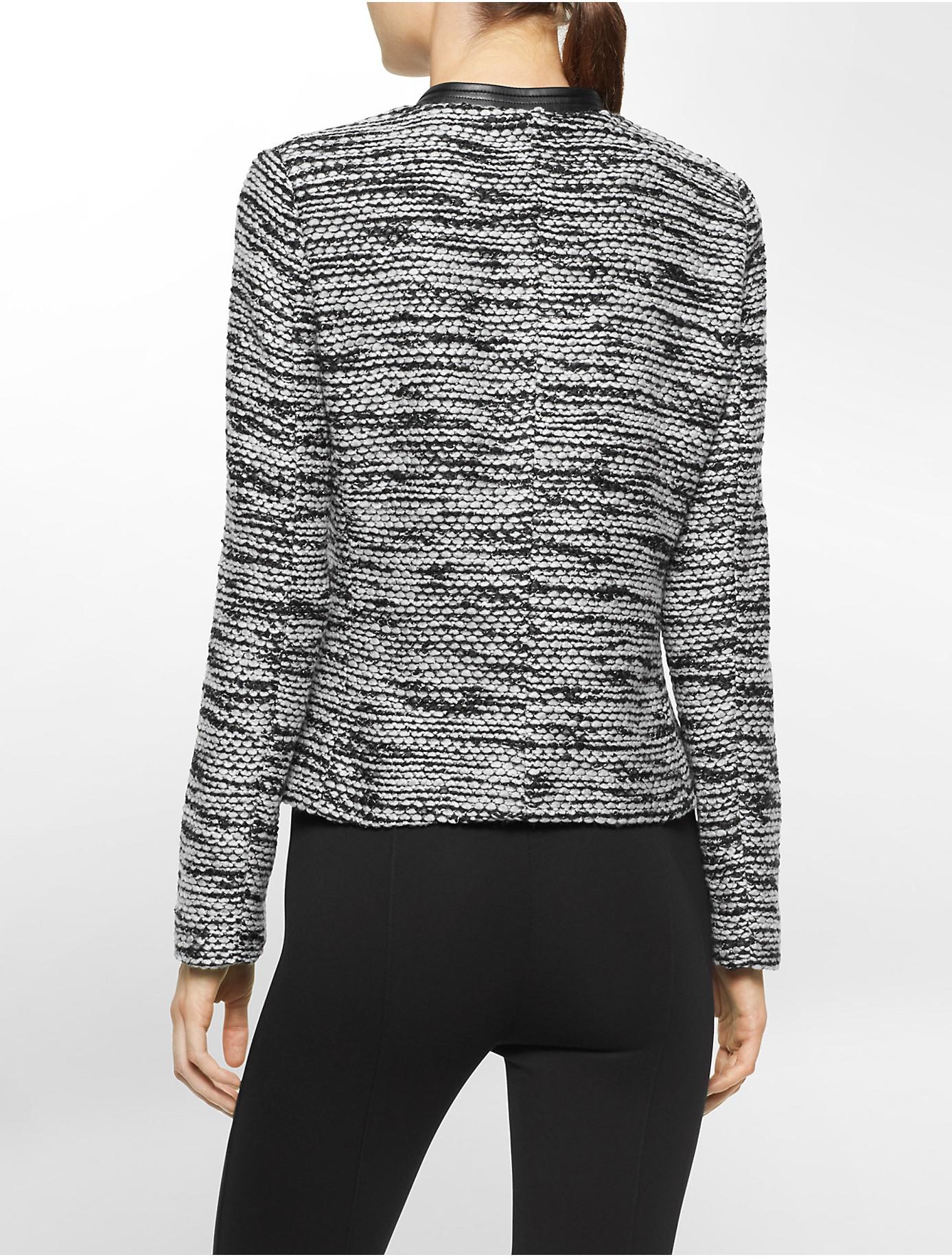 lyst calvin klein plus marled zip up jacket in gray. Black Bedroom Furniture Sets. Home Design Ideas