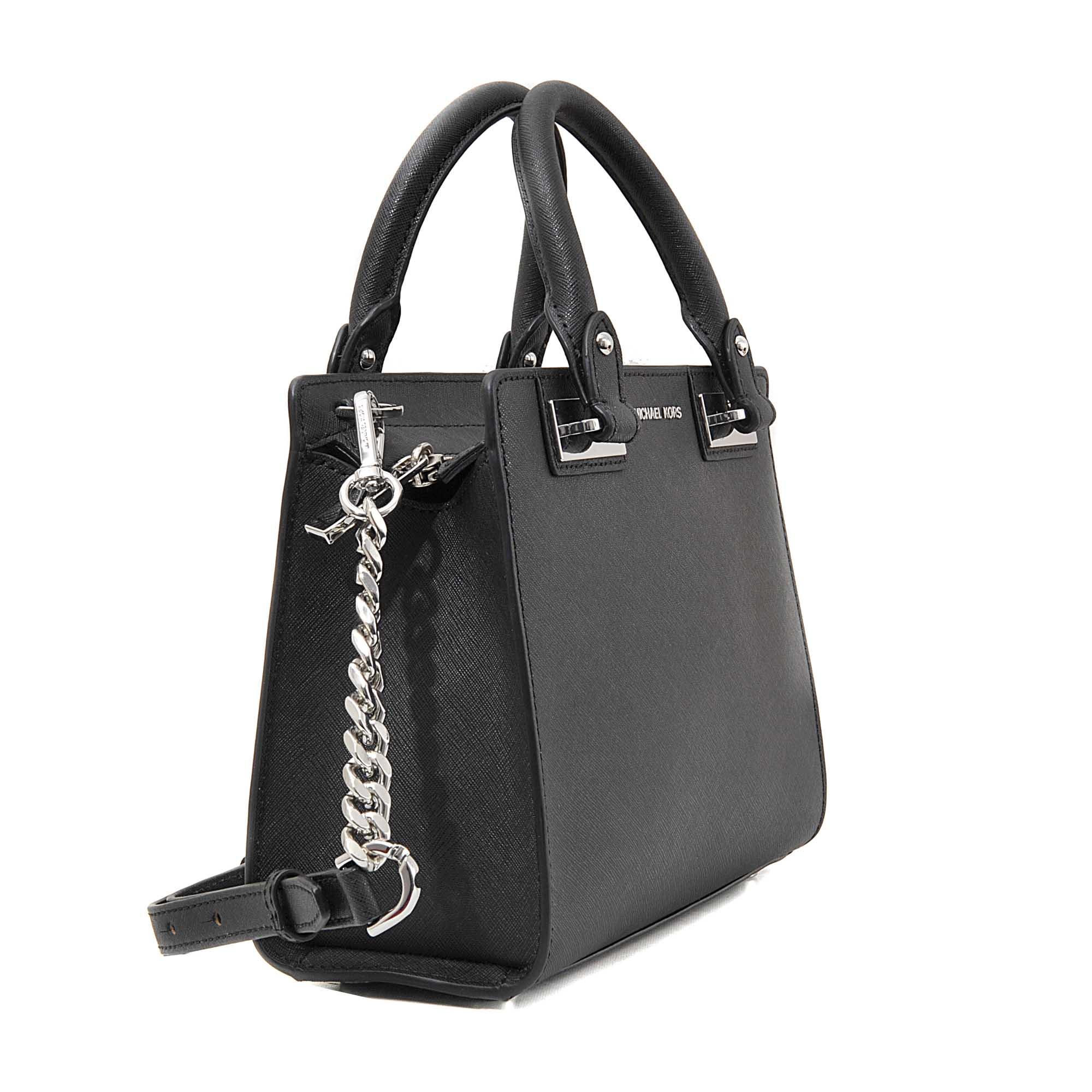 ed4e4a991dad ... discount lyst michael michael kors quinn small satchel in black 0bb37  7156f