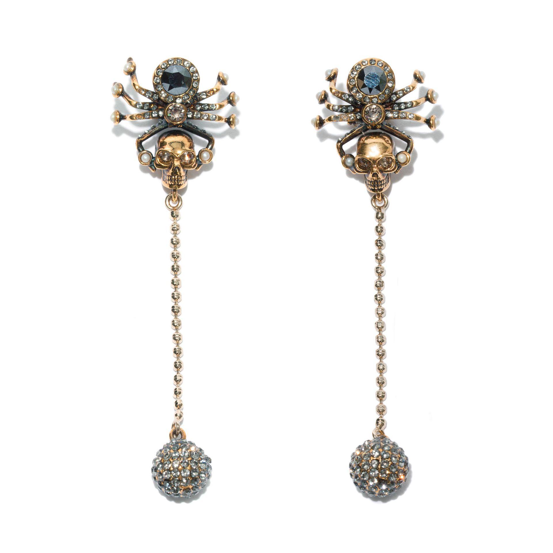 alexander mcqueen spider skull earrings in metallic lyst