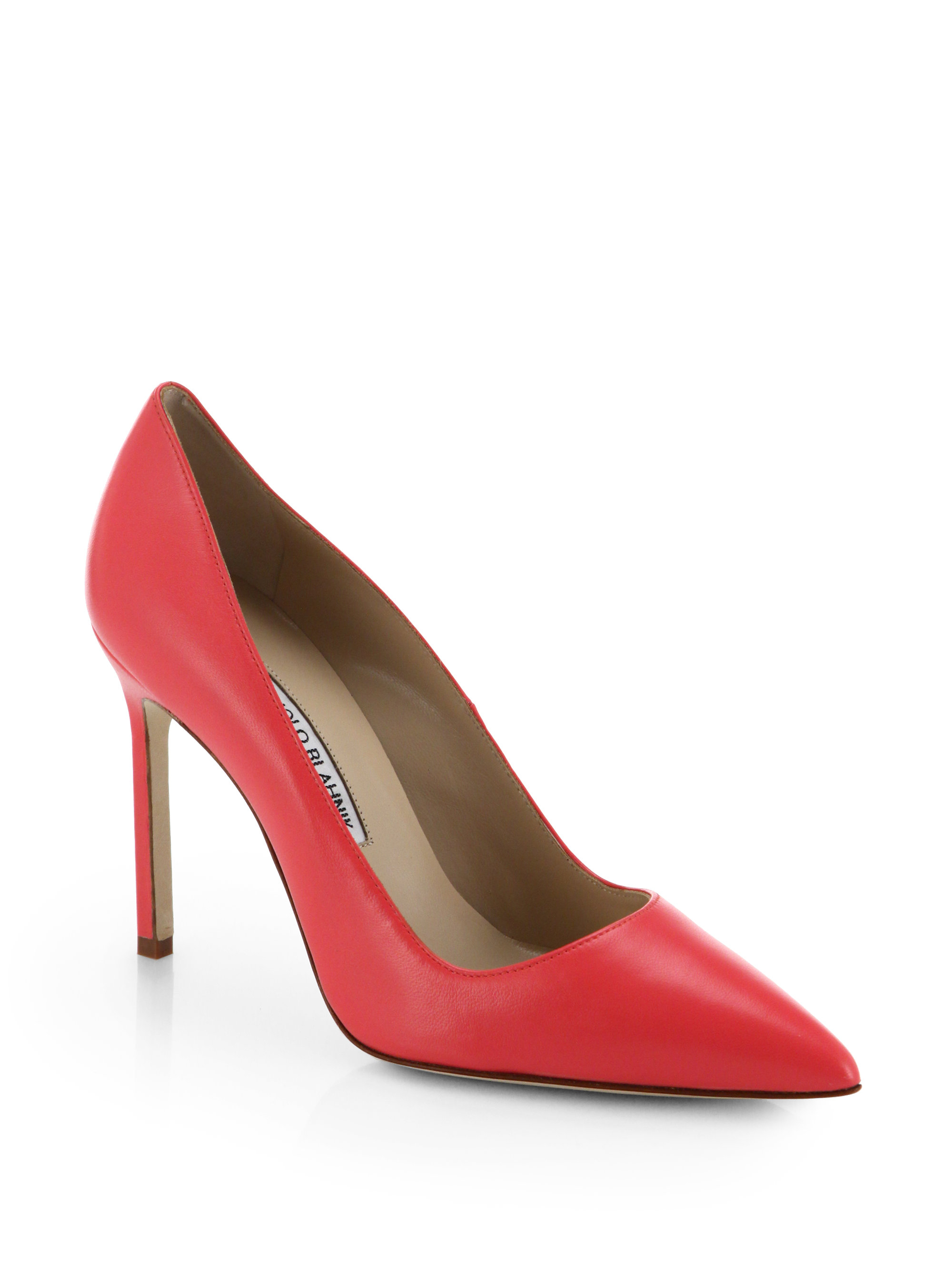 Manolo Blahnik Nappa Leather Point Toe Pumps In Red Lyst