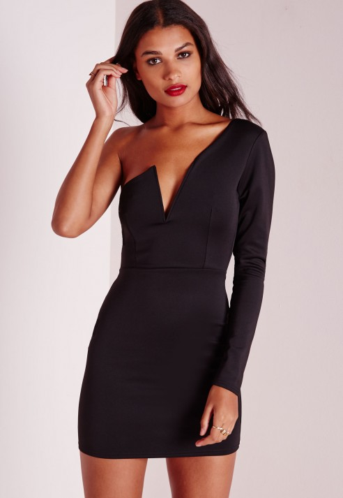 74ad19d5edfe Missguided One Sleeve Bodycon Dress Black in Black - Lyst
