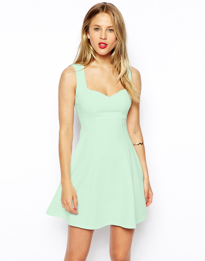 342a03be6d Lyst - ASOS Sleeveless Sweetheart Skater Dress In Texture in Green