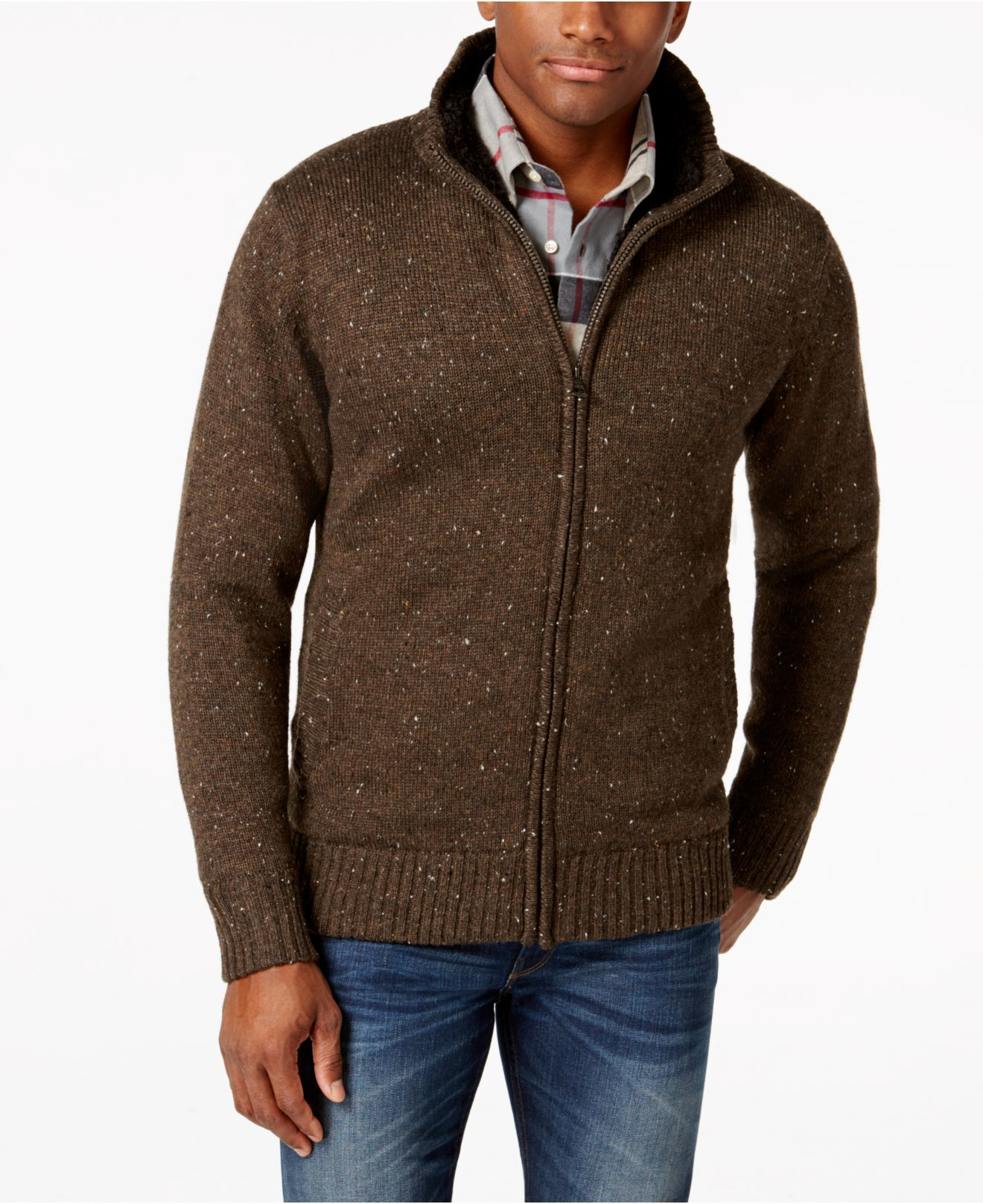 Weatherproof Zip-front Tweed Sweater Jacket in Brown for Men | Lyst