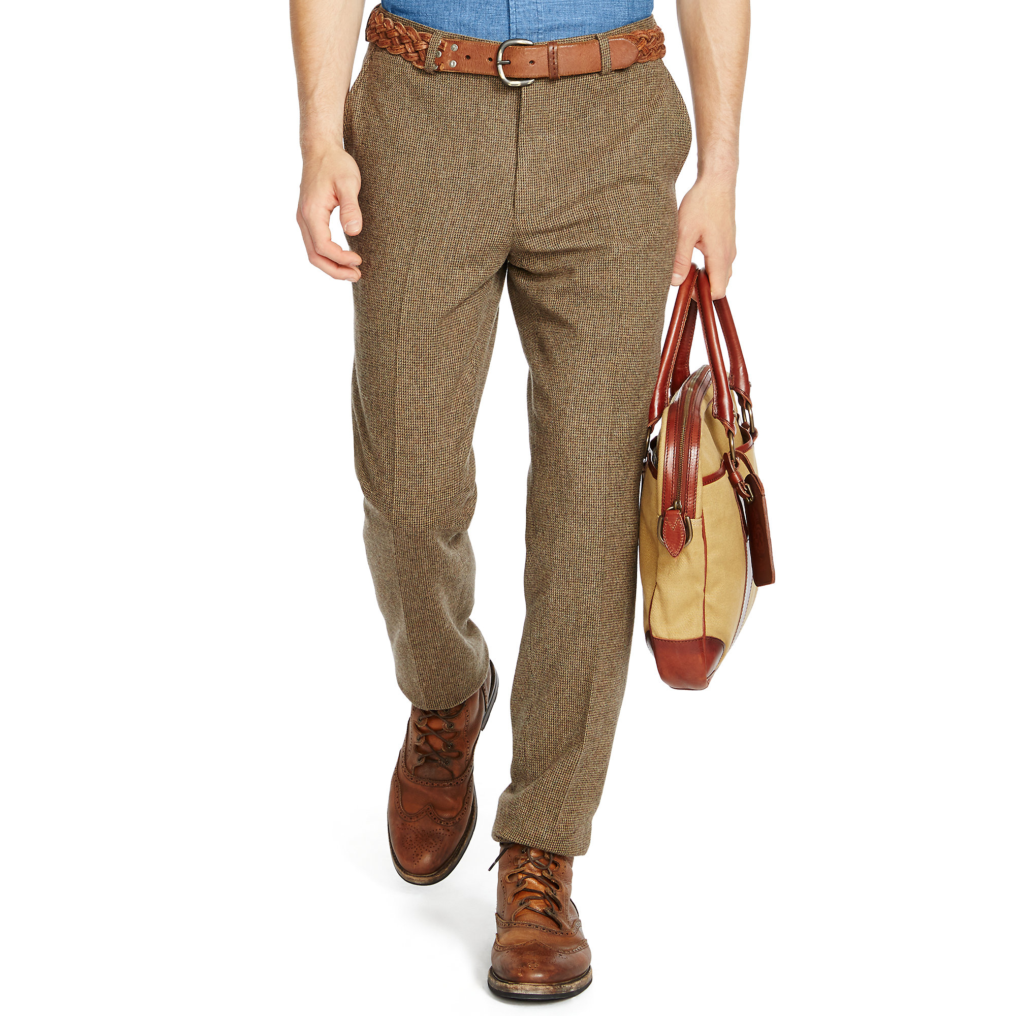 Lyst - Polo Ralph Lauren Slim-fit Tick-weave Trouser in Green for Men 0b4d147a5348