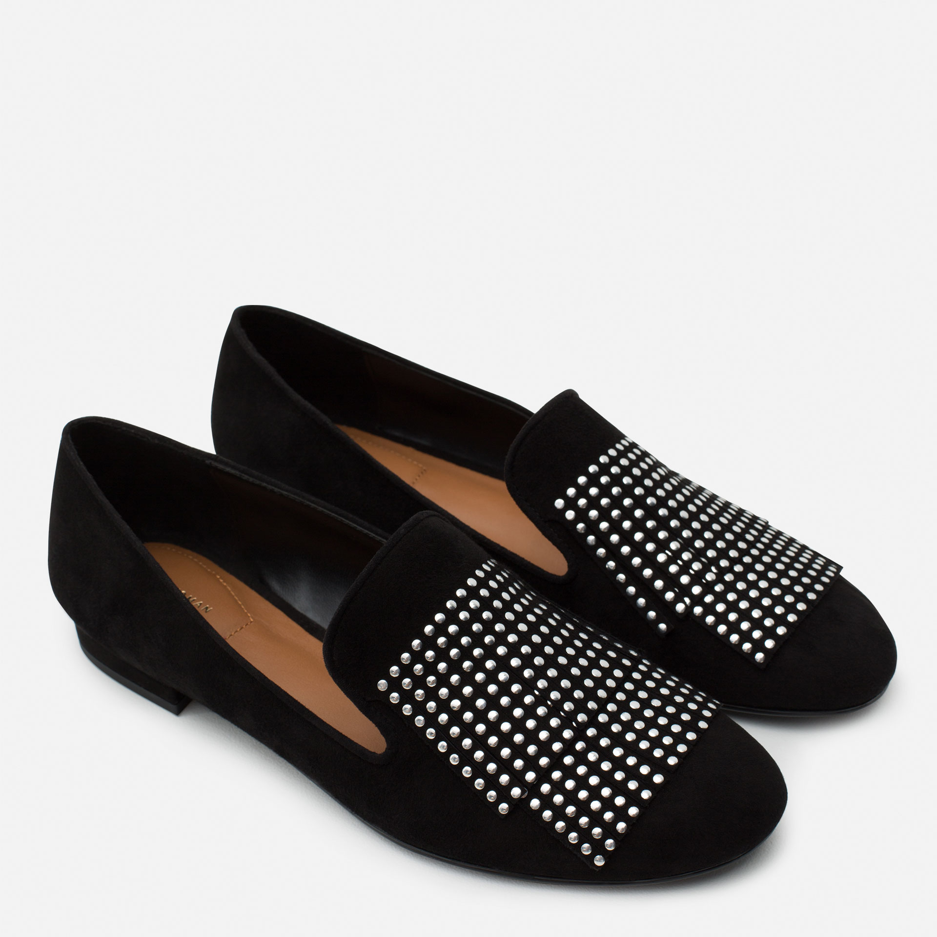 zara flat leather shoes with small studs in black lyst
