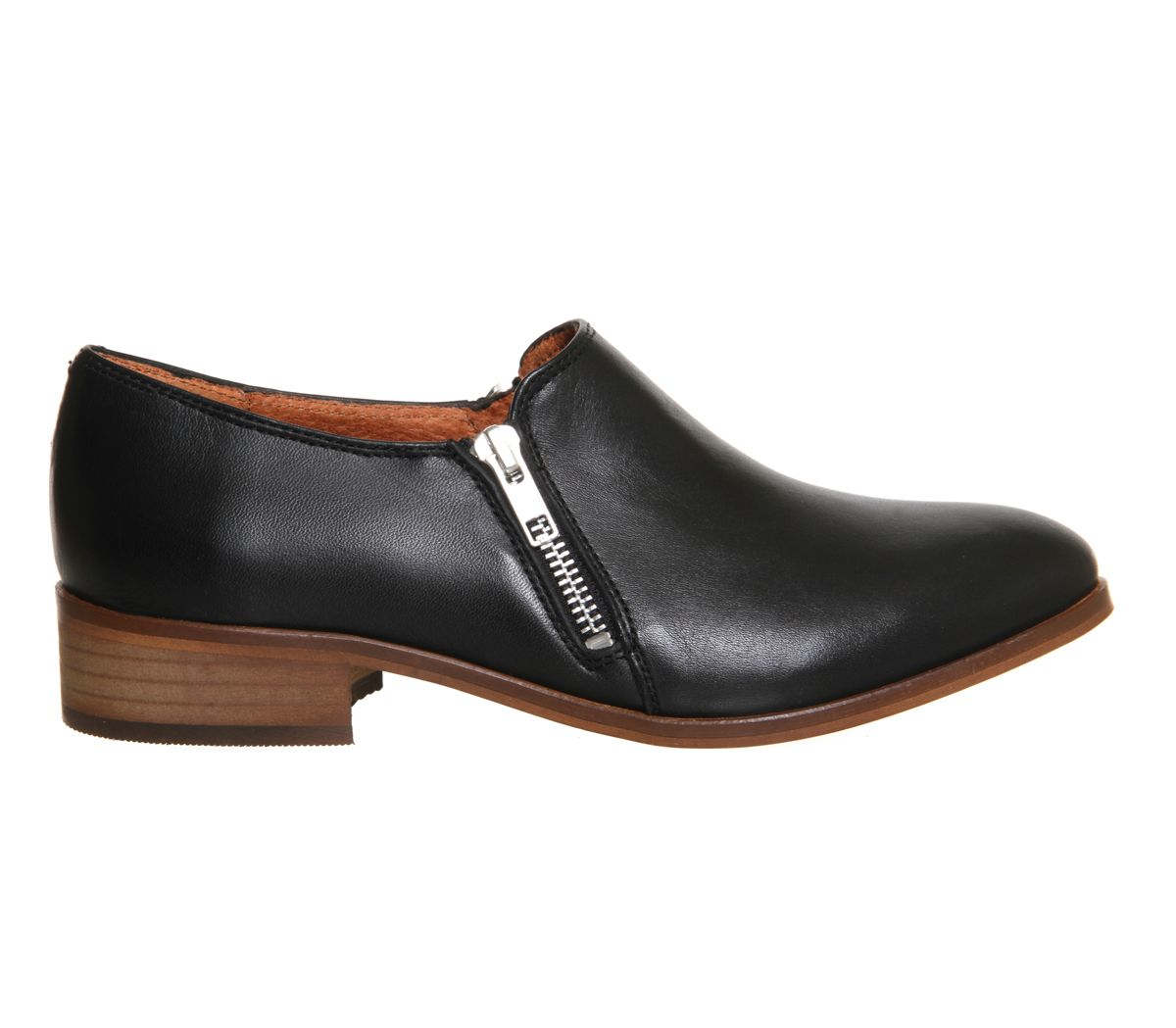 office side zip flats in black black leather lyst