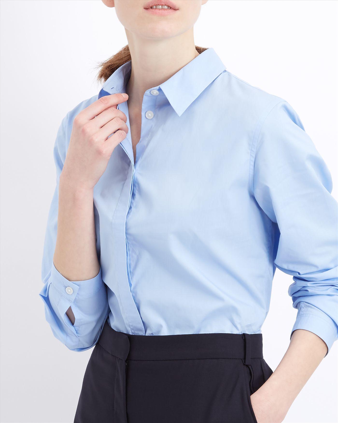 Jaeger cotton poplin tab stitch shirt in blue lyst for Blue cotton work shirts