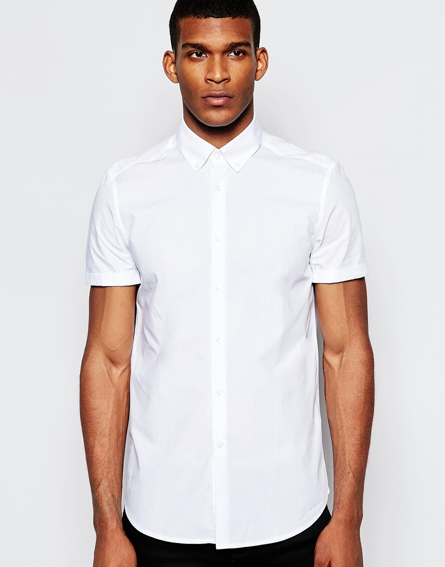 Lyst asos smart shirt in short sleeve with button down for White button down collar shirt