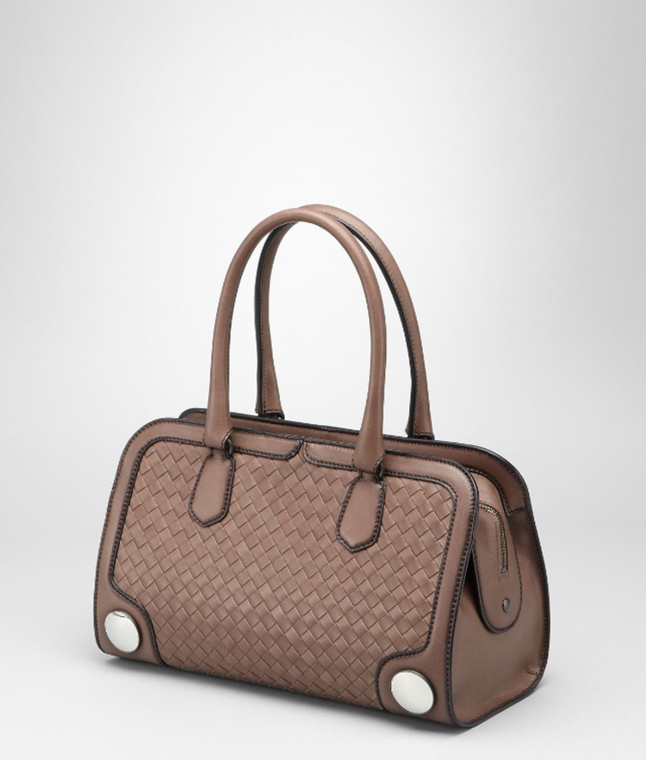 Bottega Veneta Mud Intreccio Border Calf Sphere Bag In