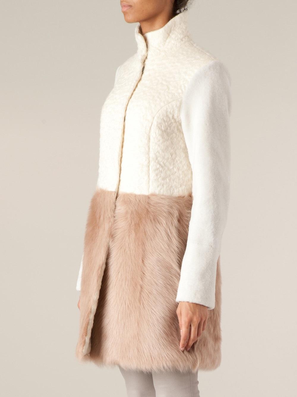 Drome Paneled Fur Coat in Natural | Lyst
