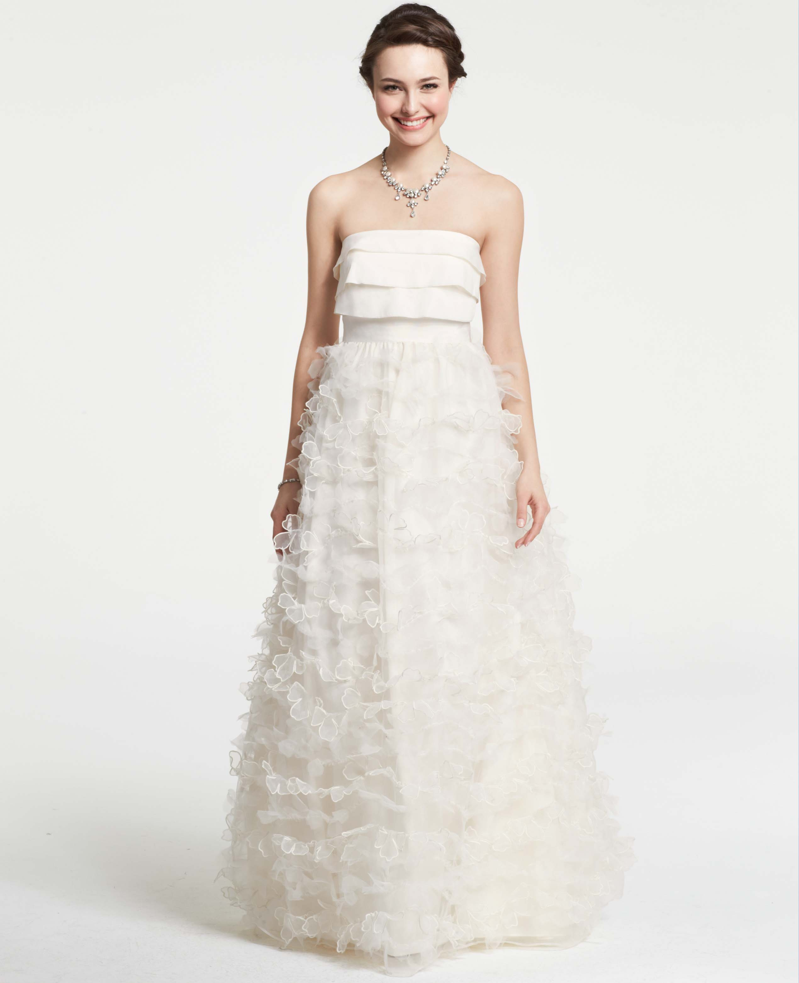 Ann taylor petaled strapless wedding dress in white for Wedding dresses ann taylor