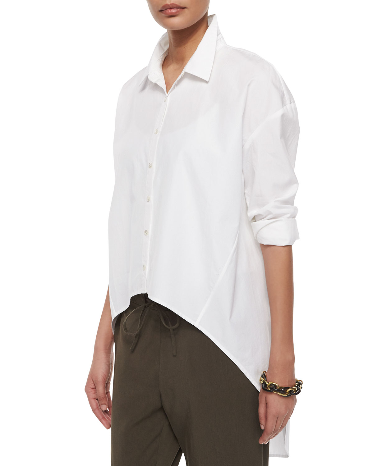 Lyst eileen fisher organic cotton button front high low for Organic cotton button down shirts
