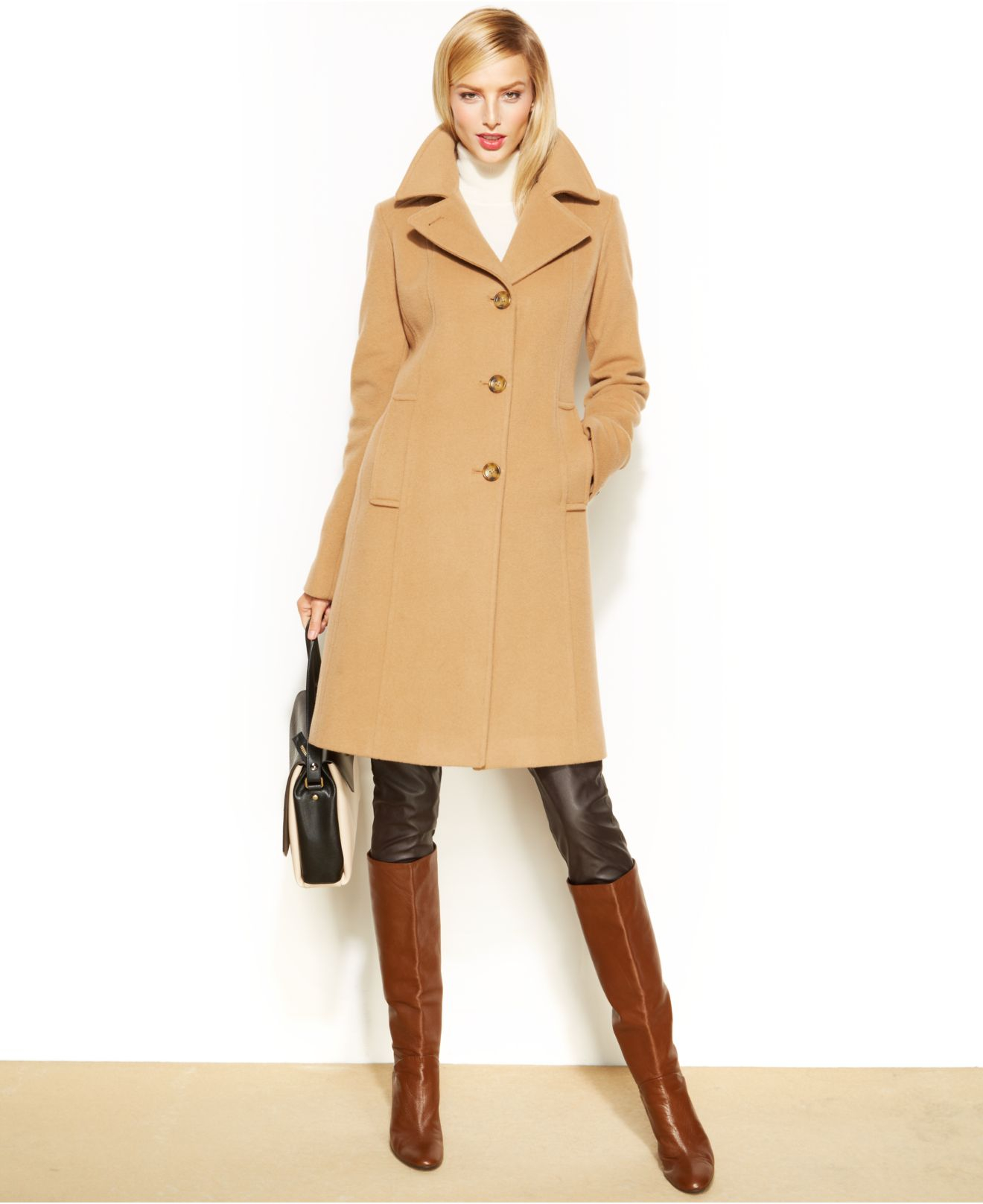 Anne klein Wool-Cashmere-Blend Notched-Collar Walker Coat in ...