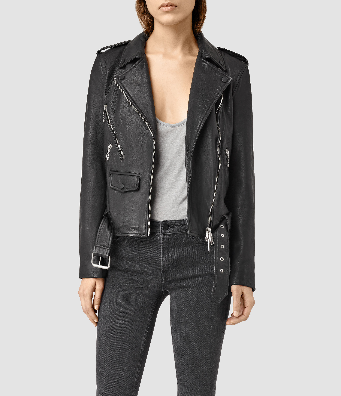 Allsaints Eaves Leather Stud Biker Jacket in Black