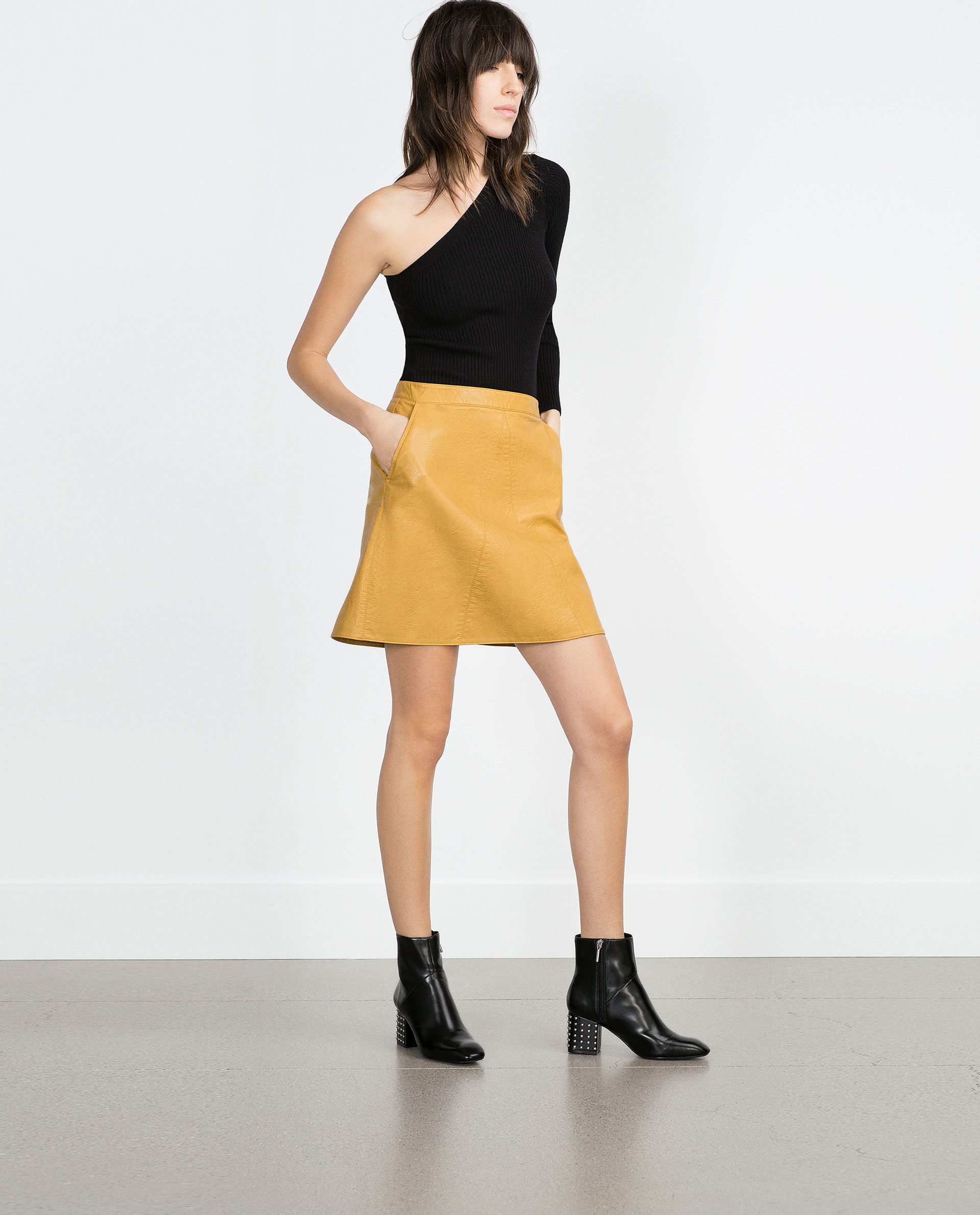 Yellow Leather Skirt - Dress Ala
