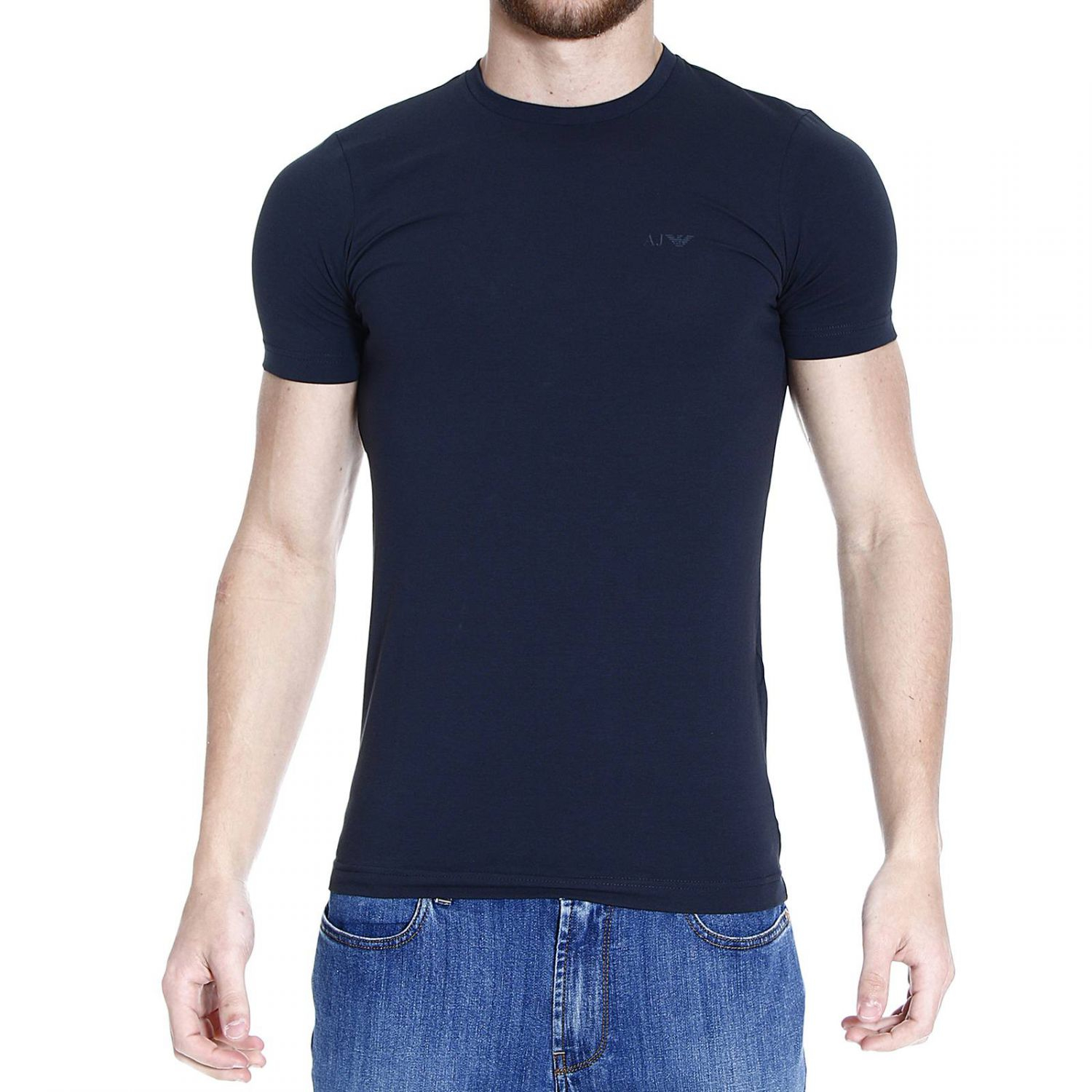 Giorgio Armani T Shirt Half Sleeve Crew Neck Basic In Blue