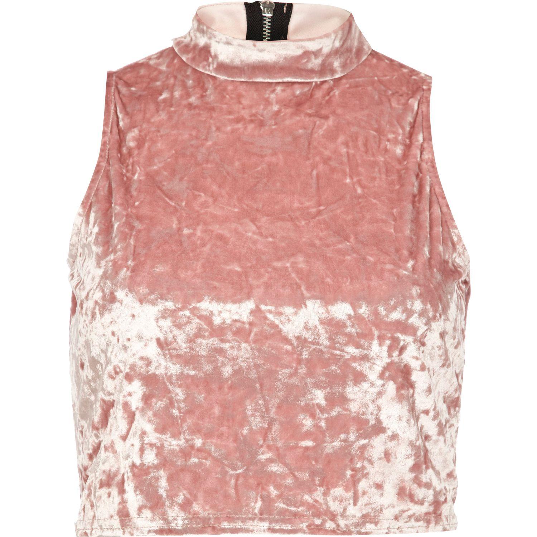 52711877d5648 River Island Light Pink Velvet Turtle Neck Crop Top in Pink - Lyst