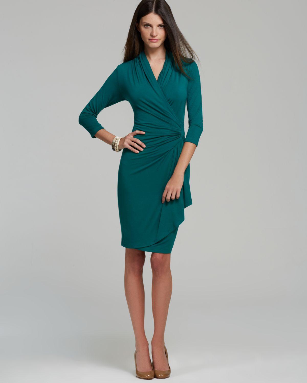 Karen kane Green Cascade Faux Wrap Dress in Green   Lyst