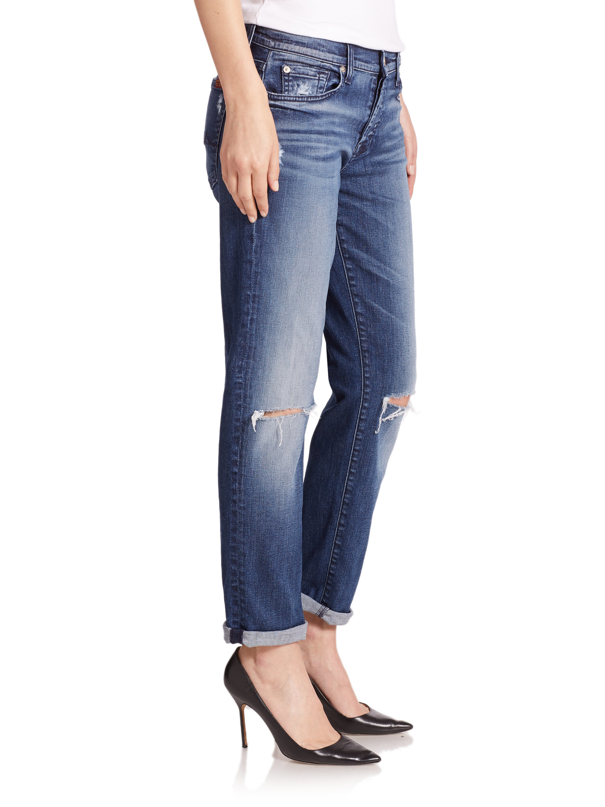 117240f2bc29ec 7 For All Mankind Josefina Distressed Boyfriend Jeans in Blue - Lyst