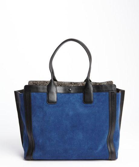 Royal Navy Suede Leather Trimmed Top Handle Shoulder Bag in Blue ...