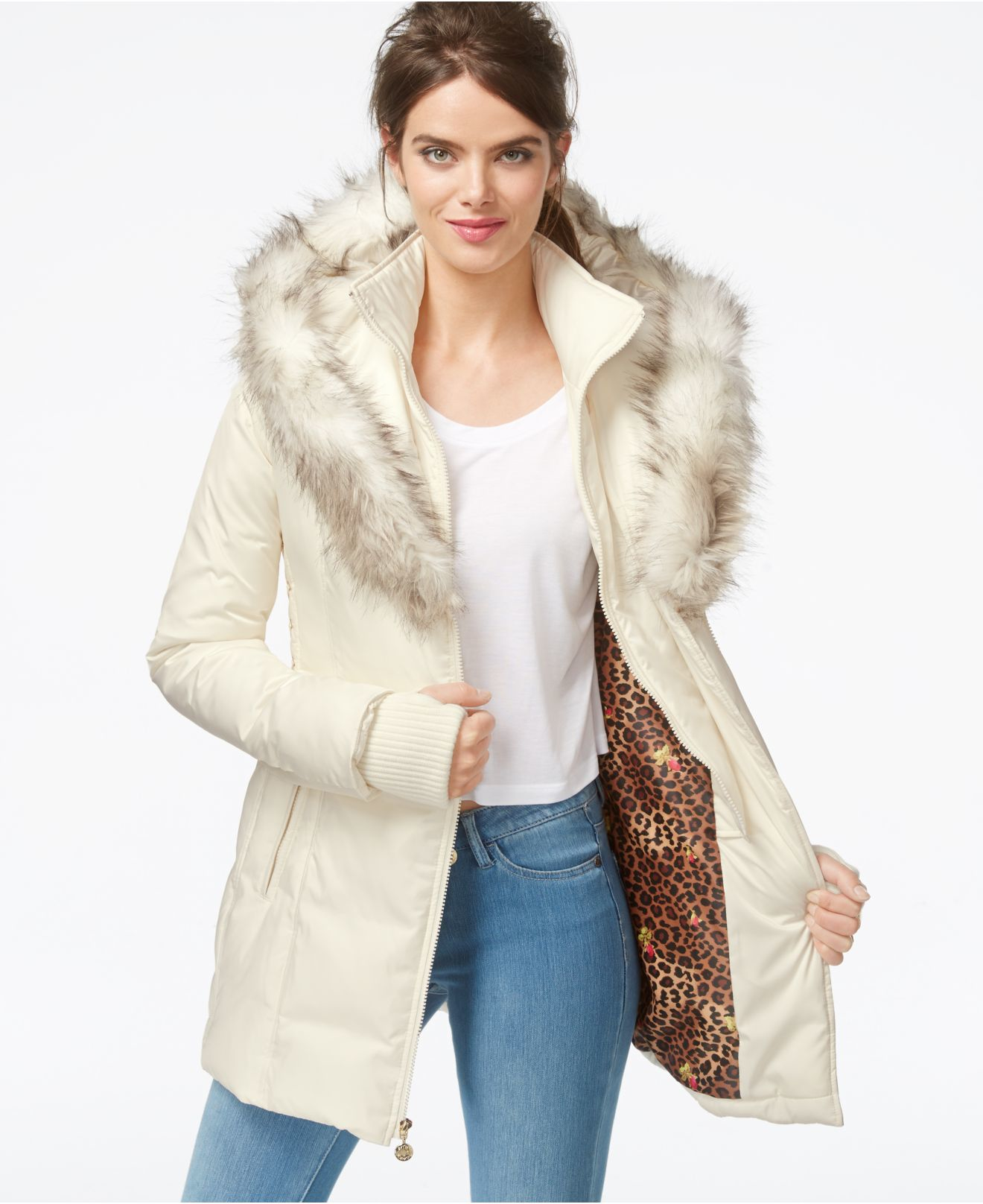 432d3ffb63f Lyst - Betsey Johnson Faux-fur-hood Quilted Puffer Coat in White
