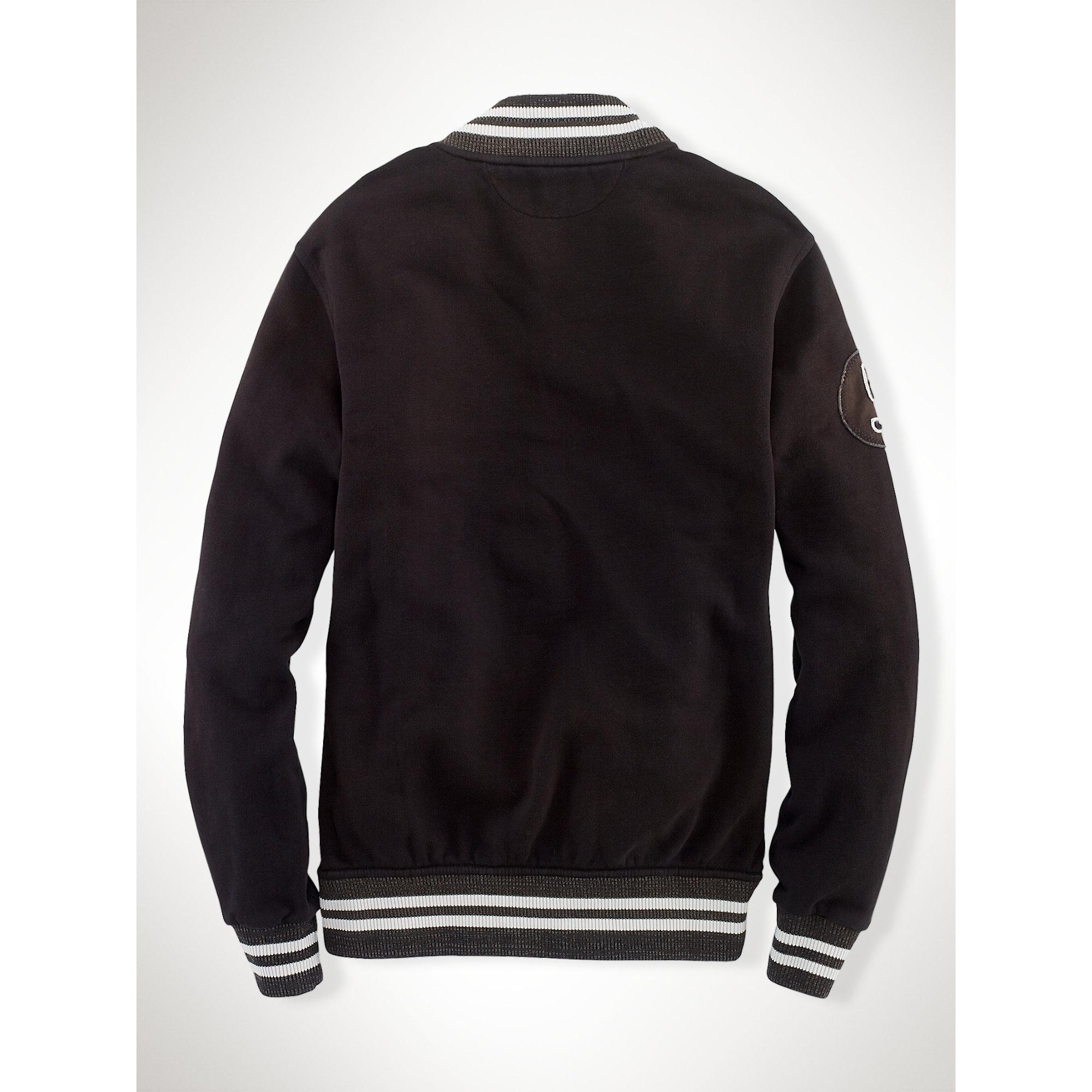 polo ralph lauren ny fleece baseball jacket in black for men lyst. Black Bedroom Furniture Sets. Home Design Ideas