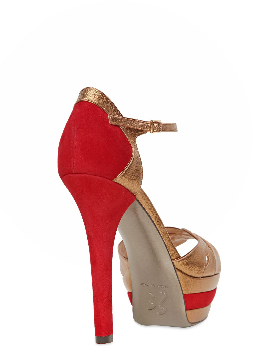 Ernesto Esposito 130mm Suede And Leather Pumps In Red Lyst