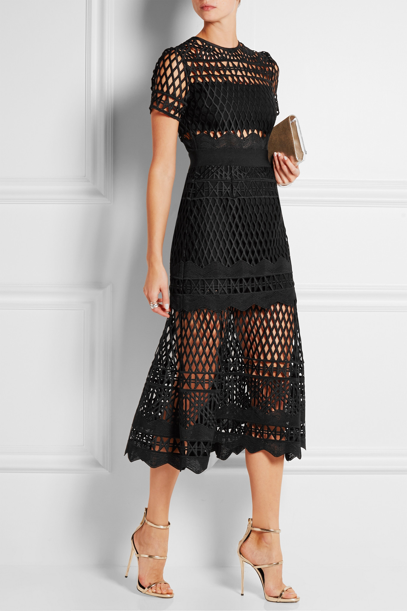 66d85be8ce0c Self-Portrait Guipure Lace Midi Dress in Black - Lyst